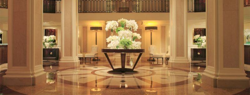 The stunning lobby at the Beverly Wilshire