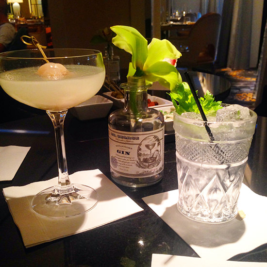 A lychee martini for me, and a local small batch gin for Mr. O