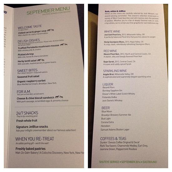 Jet Blue Mint business class service menu