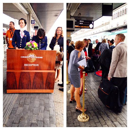 The Check-in procedure at the Belmond Venice-Simplon Orient Express train, in Venice.