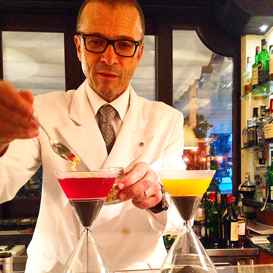 cocktails by Walter the head barman at the Belmond Cipriani Hotel