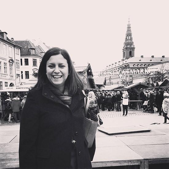 Mrs. O very happy in Copenhagen.