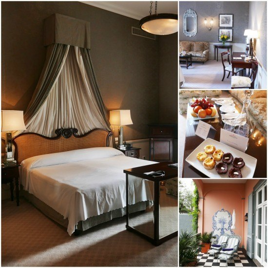 Our stunning suite and our fab welcome amenity. All Sovereign guests receive a bottle of Blandy's Madeira Wine and yummy local cakes.