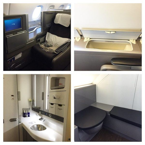 British Airways A380 Business Class Club World Review cabin and toilets