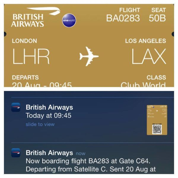 British Airways A380 Business Class Club World Review iphone app and notifications