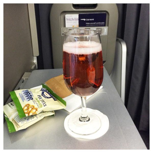 British Airways A380 Business Class Club World Review kir royale and pretzels