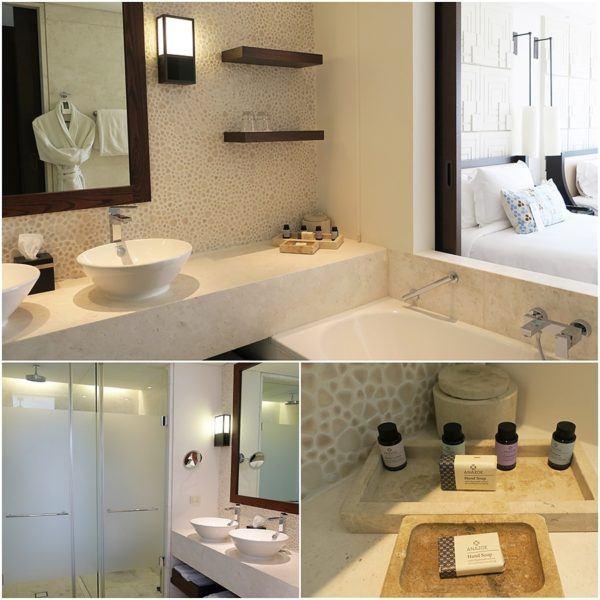 The Romanos Luxury Collection Costa Navarino Sovereign Luxury Holidays Deluxe Premium Bedroom with pool bathroom