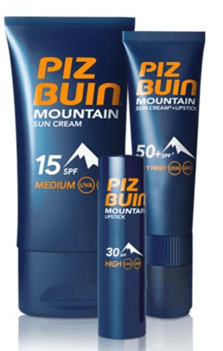 piz buin mountain sunscreen and lip balm spf 50