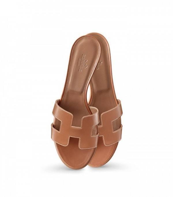 hermes oran slider sandals tan