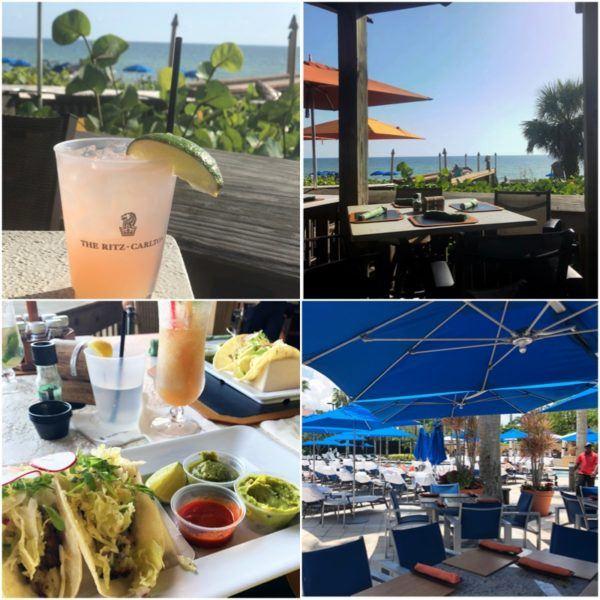 luxury weekend in naples florida ritz carlton beach lunch plastic glasses