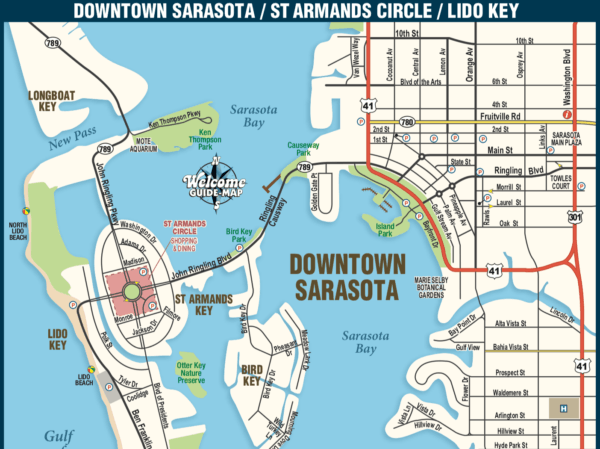 sarasota county downtown and beaches lido jey at armands key longboat key map