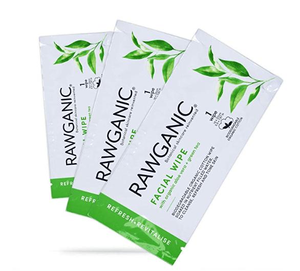Long haul flight beauty essentials RAWGANIC Refreshing Facial Wipe Sachets single packs