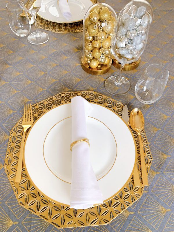 gold and grey chilewich table setting christmas