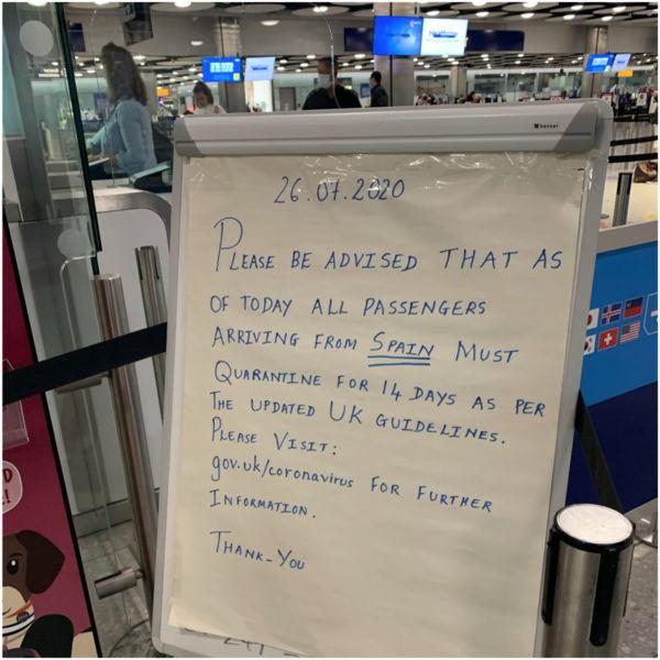 heathrow airport spain quarantine sign