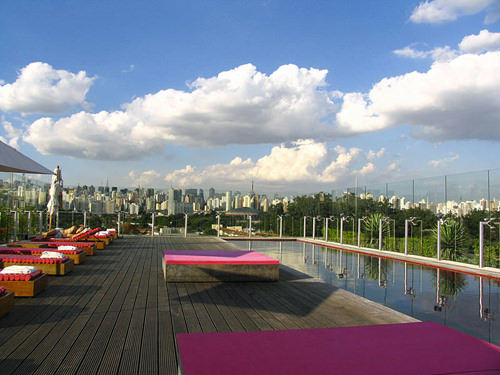 The stunning rooftop pool at Hotel Unique, São Paulo