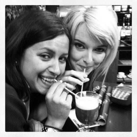 Bonding with Fiona over an Irish Coffee at Jameson's Distillery