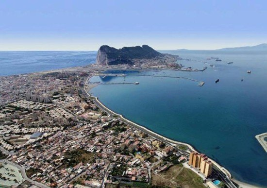 Spain and Gibraltar at far end