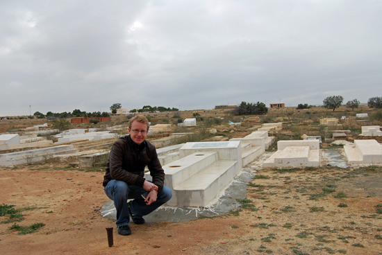 Tom Chesshyre by the grave of Mohammed Bouazizi