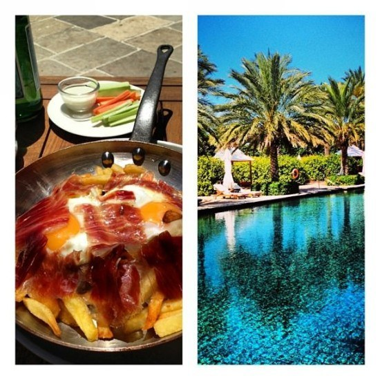 Huevos Rotos con patatas y jamon.. and some view at Finca Cortesin