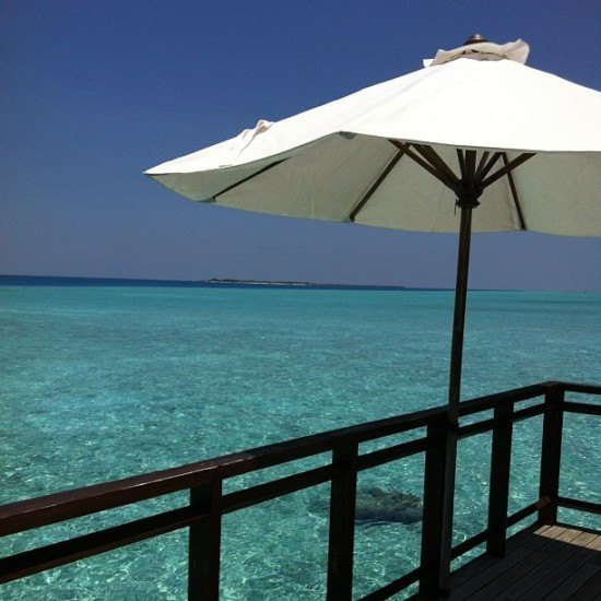 Complete privacy in our Water Villa deck